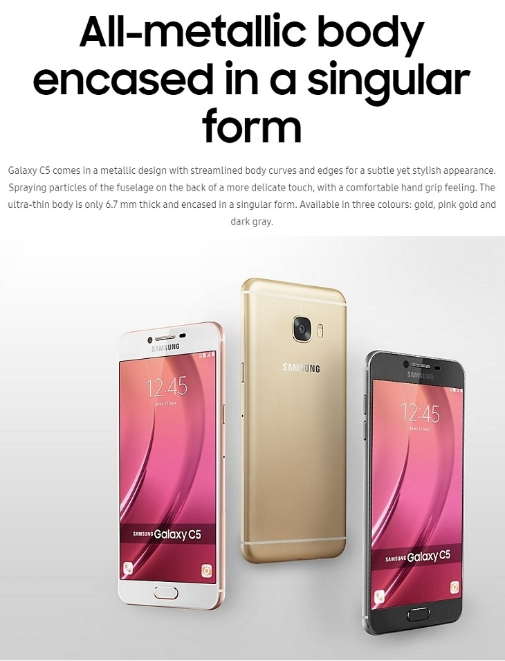 samsung galaxy c5 singular phone design