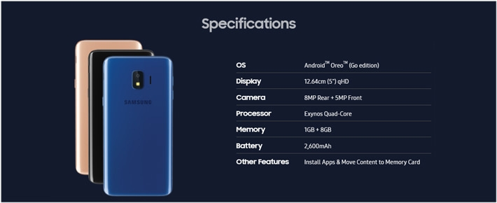 Samsung Galaxy J2 Core 5-Inch (1GB, 8GB ROM) Android Oreo Go, 8MP + 5MP  Smartphone - Lavender + Free 16GB Memory Card