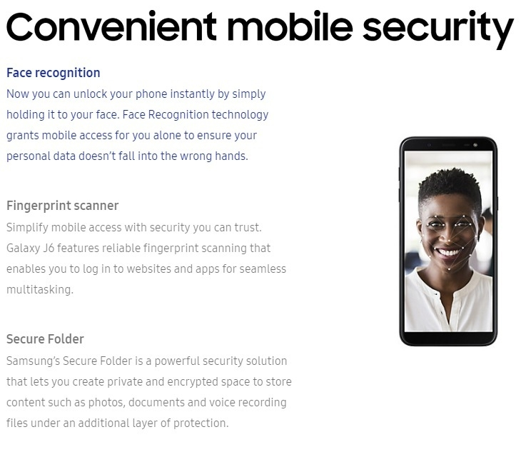 samsung galaxy fingerprint and face recognition ID smartphone on jumia