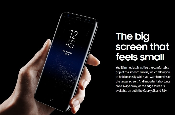 Samsung S8 S8 + smooth curve design