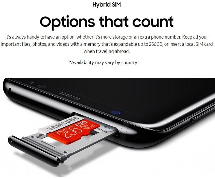 Samsung S8 S8 + HYBrid SIM