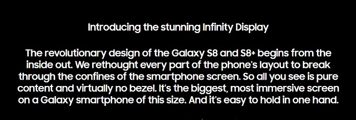 Samsung S8 S8 + Infinity Display