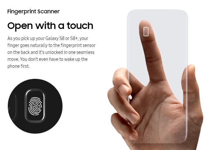 Samsung S8 S8 + fingerprint scan