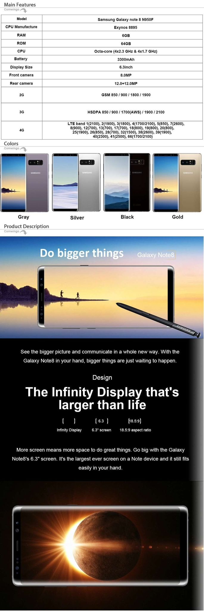 "Samsung Galaxy Note8 Note 8 N950U 4G  Android Phone Octa Core 6.3"" 12MP  RAM 6GB ROM 64GB 3300mAh black 1"