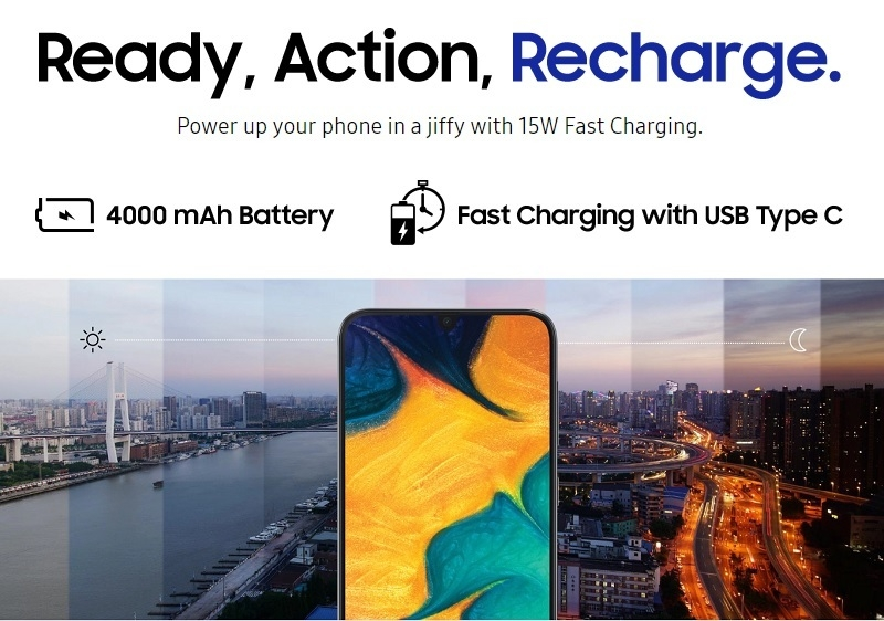Samsung A30 4000mah strong battery android smartphone