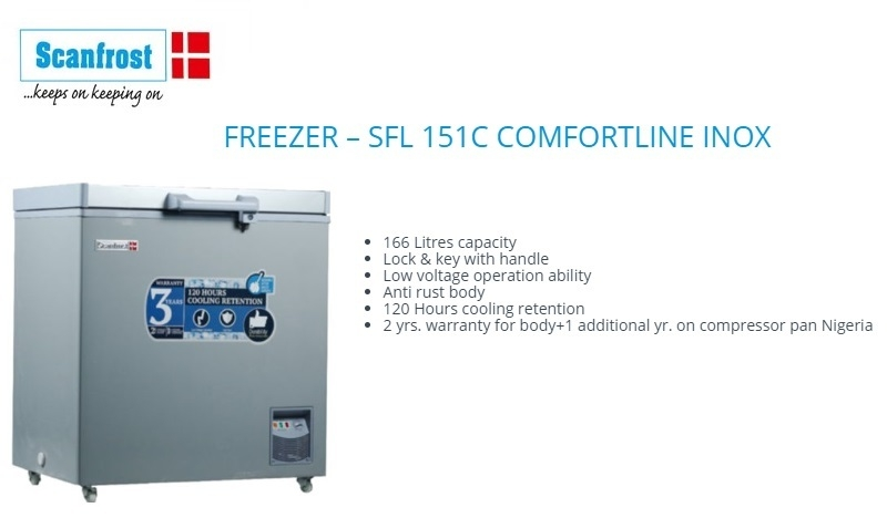 affordable best chest freezer in nigeria scanfrost sfl151c
