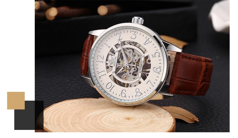 SEWOR SW028 Male Mechanical Watch Hollow Dial Luminous Men Wristwatch
