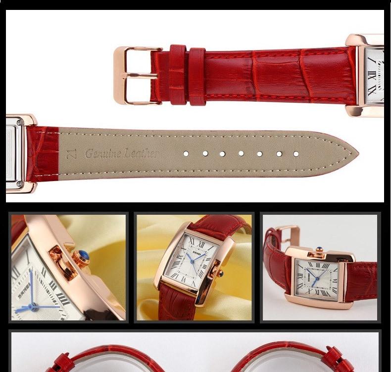 SKMEI Women Quartz Watches Luxury Fashion Casual Watch Leather Strap Lady Dress Girls red 22cm 11