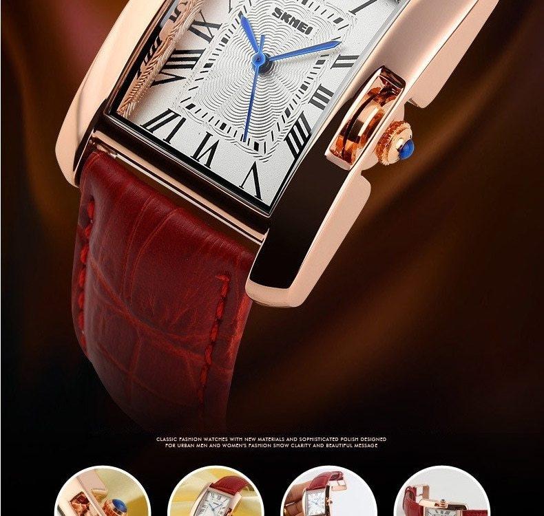 SKMEI Women Quartz Watches Luxury Fashion Casual Watch Leather Strap Lady Dress Girls red 22cm 4