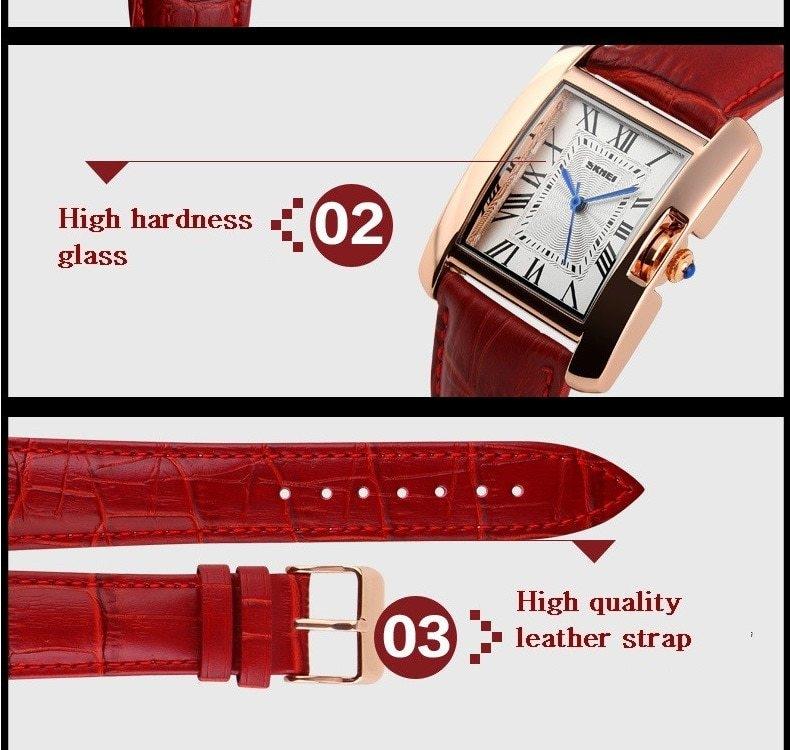 SKMEI Women Quartz Watches Luxury Fashion Casual Watch Leather Strap Lady Dress Girls red 22cm 13