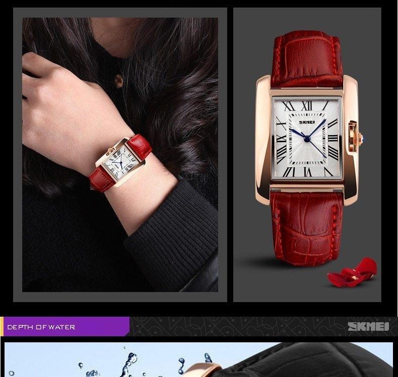 SKMEI Women Quartz Watches Luxury Fashion Casual Watch Leather Strap Lady Dress Girls red 22cm 8