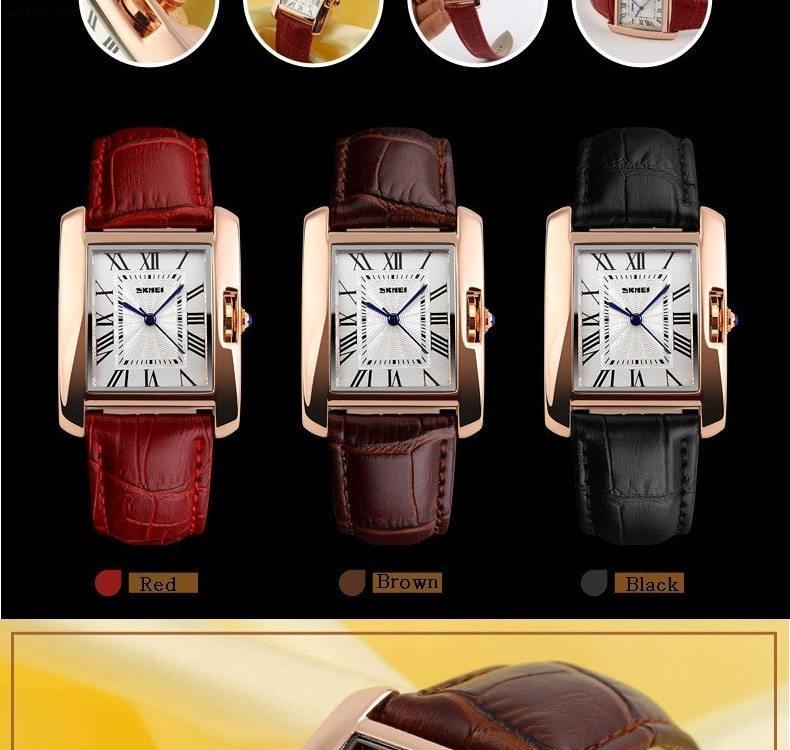 SKMEI Women Quartz Watches Luxury Fashion Casual Watch Leather Strap Lady Dress Girls red 22cm 5