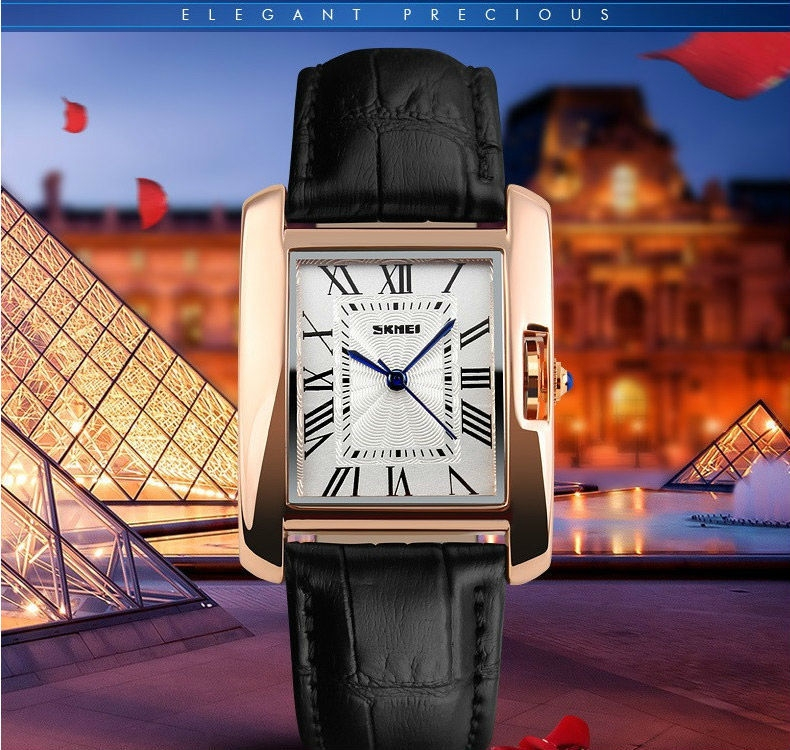 SKMEI Women Quartz Watches Luxury Fashion Casual Watch Leather Strap Lady Dress Girls red 22cm 2