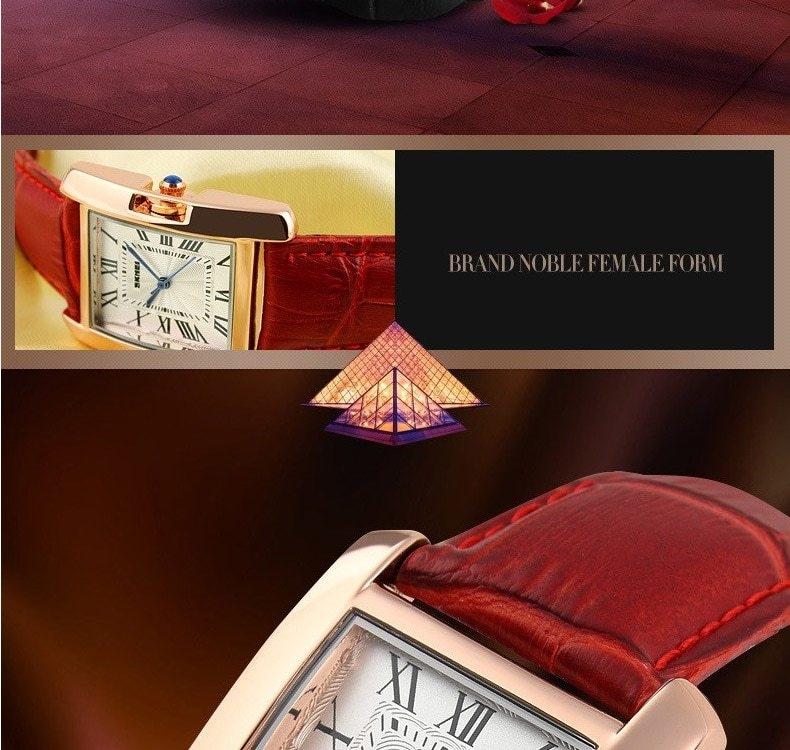 SKMEI Women Quartz Watches Luxury Fashion Casual Watch Leather Strap Lady Dress Girls red 22cm 3