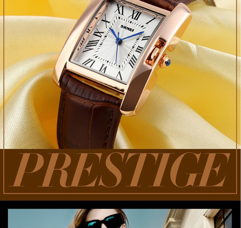 SKMEI Women Quartz Watches Luxury Fashion Casual Watch Leather Strap Lady Dress Girls red 22cm 6