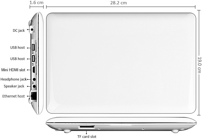 1088 10.1 inch Android 4.4 Netbook WM8880 Dual Core 1.5GHz WSVGA Screen 1GB RAM 8GB ROM WiFi Camera