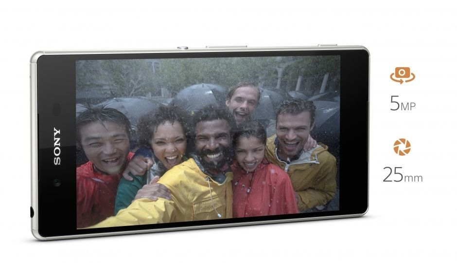 The Xperia Z3+ with a selfie on the screen that was taken with the 5 MP front camera