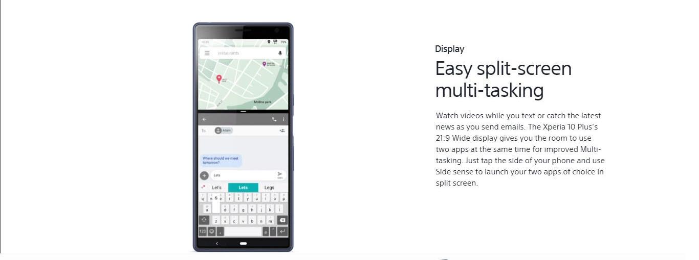 Sony Xperia 10 Plus 6 5-Inch IPS LCD (6GB, 64GB ROM) Android 9 0 Pie, 12MP  + 8MP Dual SIM 4G Smartphone - Black