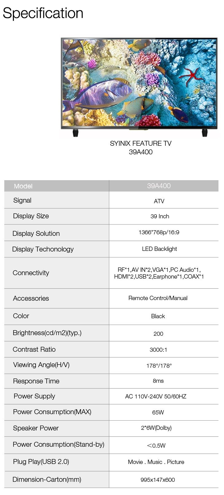 Syinix 39A400 LED TV specs affordable 39 inch tv