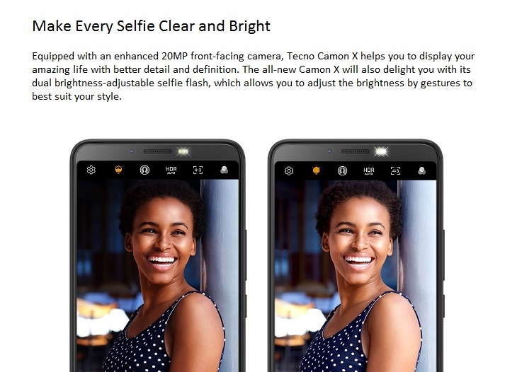 Tecno Camon X 20mp camera