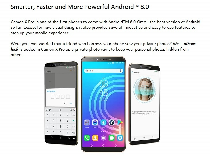 tecno camon x pro Android 8