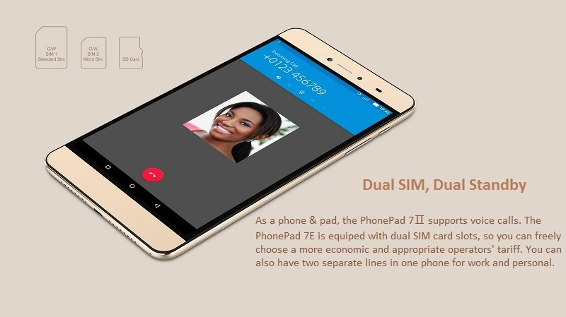 Phone Pad 7 II with Dual SIM and Voice Calling