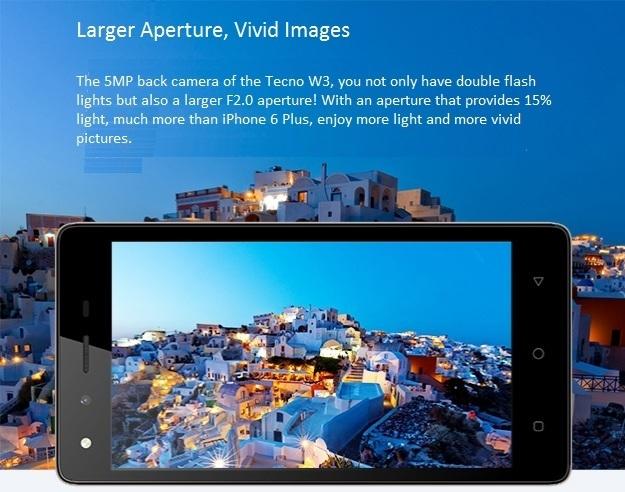 Tecno W3 larger aperture
