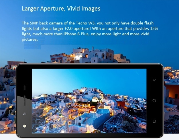 Tecno W3 larger aperture