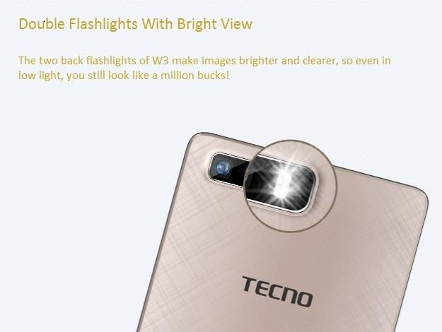Tecno W3 double flashlights