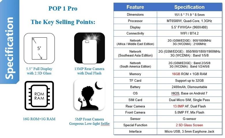 Specs and price of Tecno Pop 1