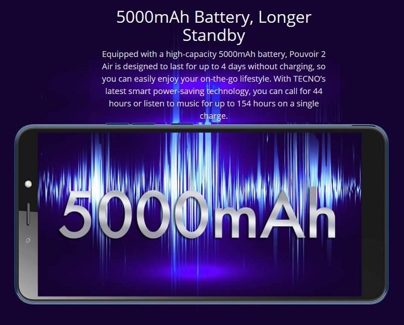 Tecno Pouvoir 2 Air 5000mah android battery
