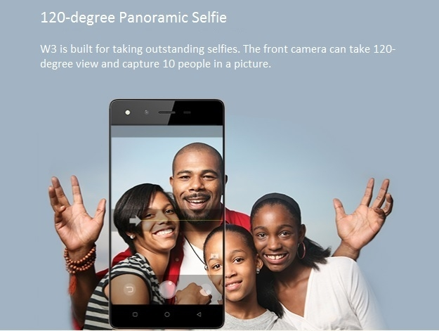 Tecno W3 120 degree panoramic selfie