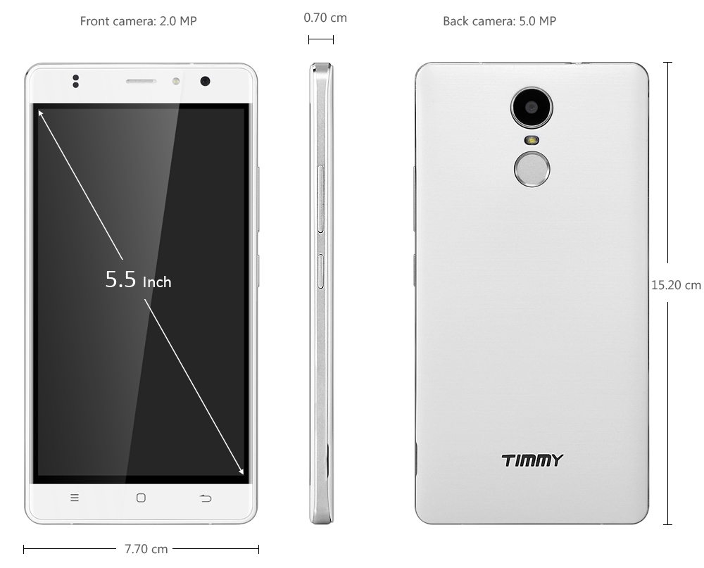 Timmy M20 PRO 5.5 inch Android 6.0 4G Phablet MT6737 Quad Core 1GB RAM 16GB ROM Fingerprint Scanner Bluetooth 4.0 Dual Cameras