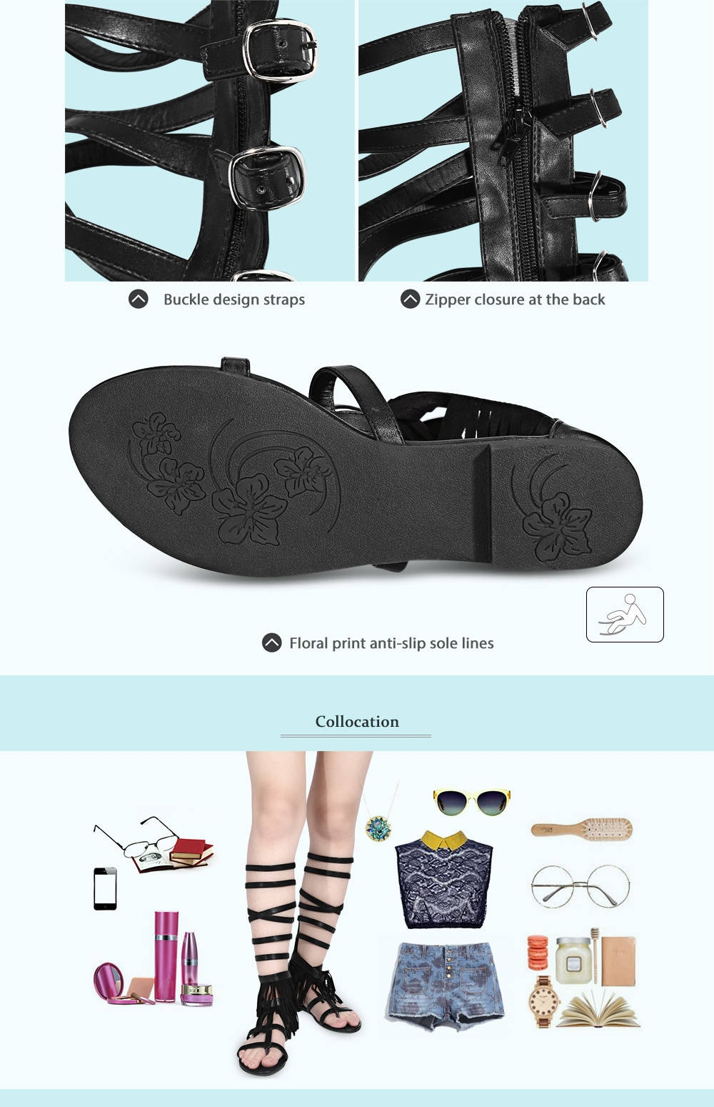 Sexy Tassel Buckle Design Zipper Flip-flop High Tube Sandals for Women