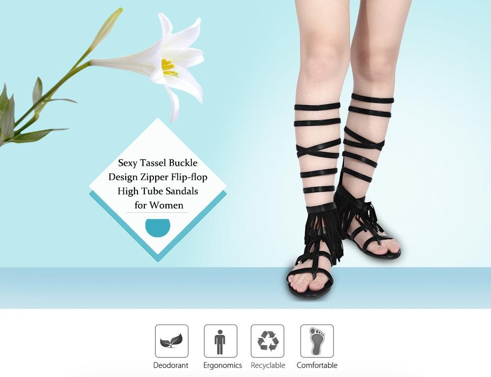 Sexy Tassel Buckle Design Zipper Flip-flop High Tube Sandals for Women