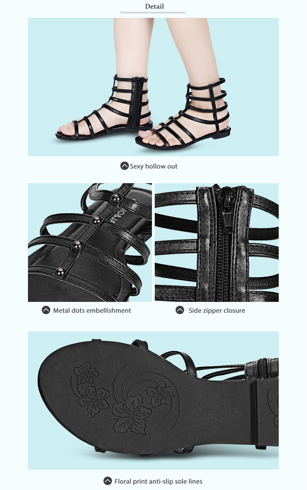 Sexy Hollow Out Solid Color Side Zipper Flat Gladiator Sandals for Women