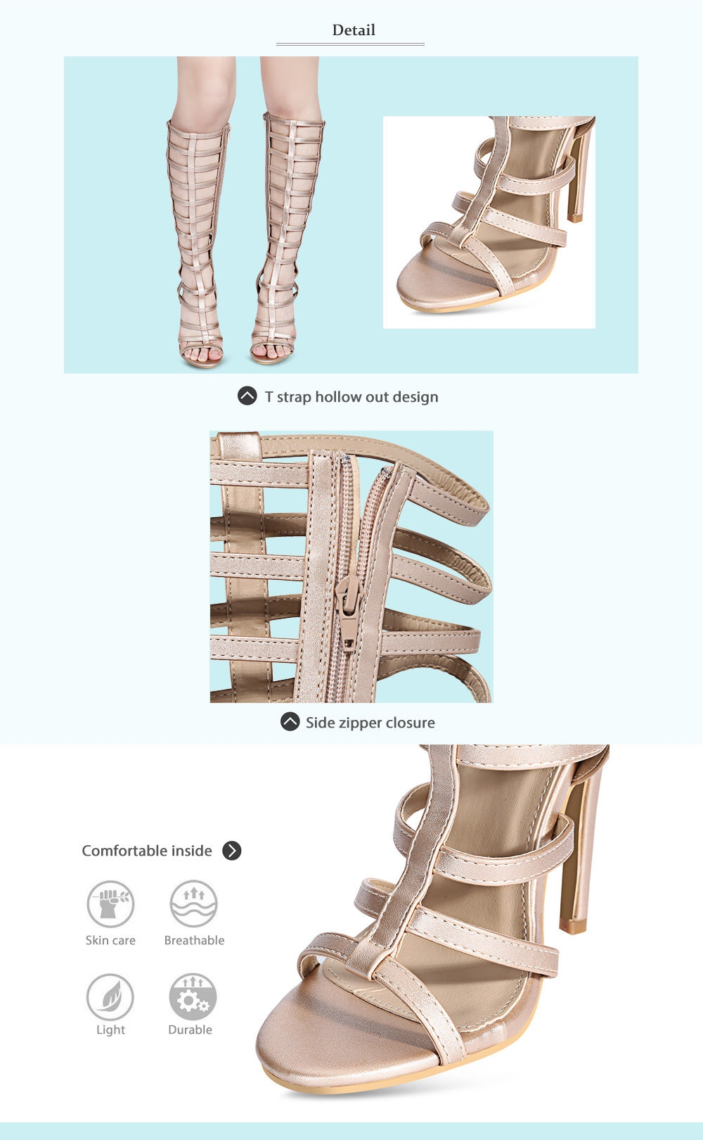 Sexy Hollow Out Side Zipper High Heel Gladiator Sandals for Women