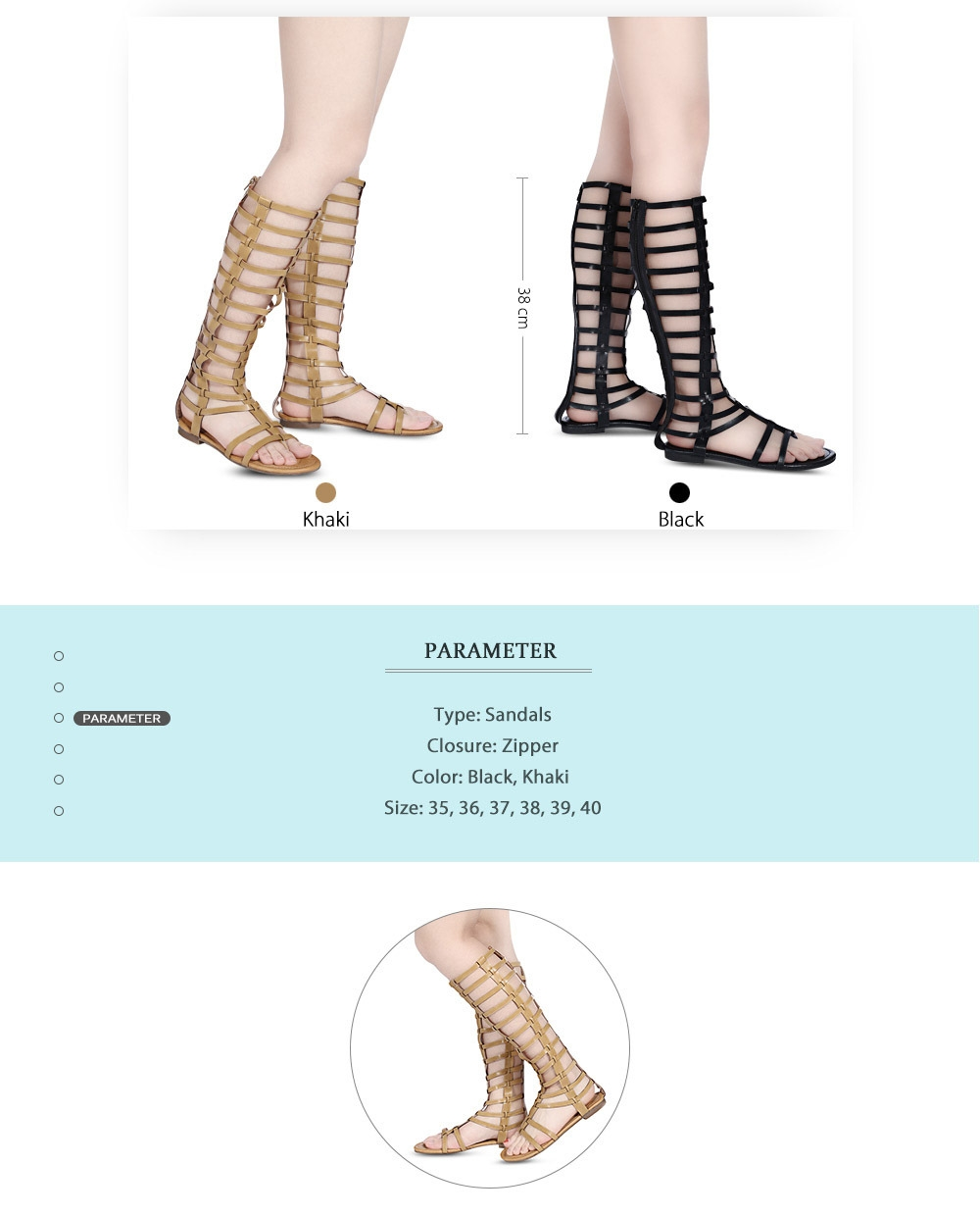 Sexy Hollow Out Flip-flop Zipper High Tube Gladiator Sandals for Women