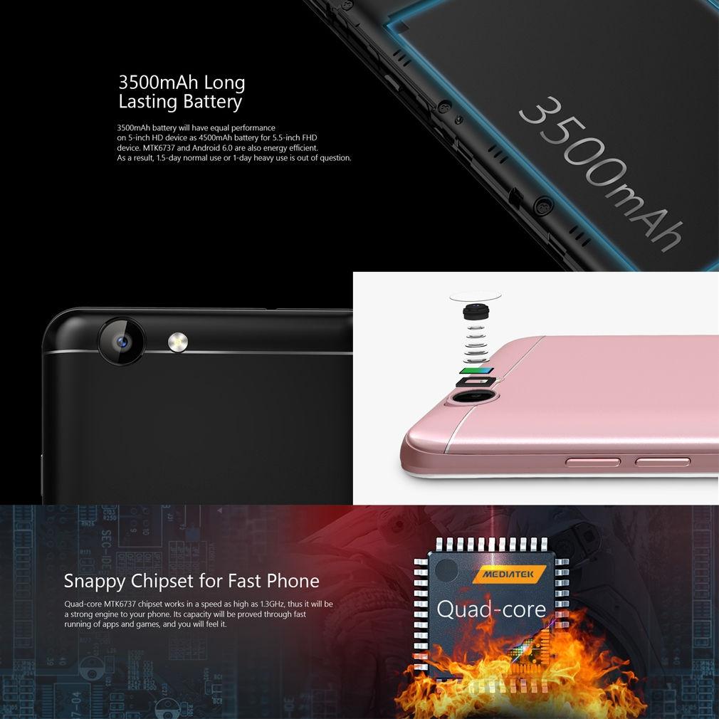 Ulefone 5 Inch Display Ulefone MT6737 Quad-Core HD 1280*720 Dual Sim 4G  Smartphone