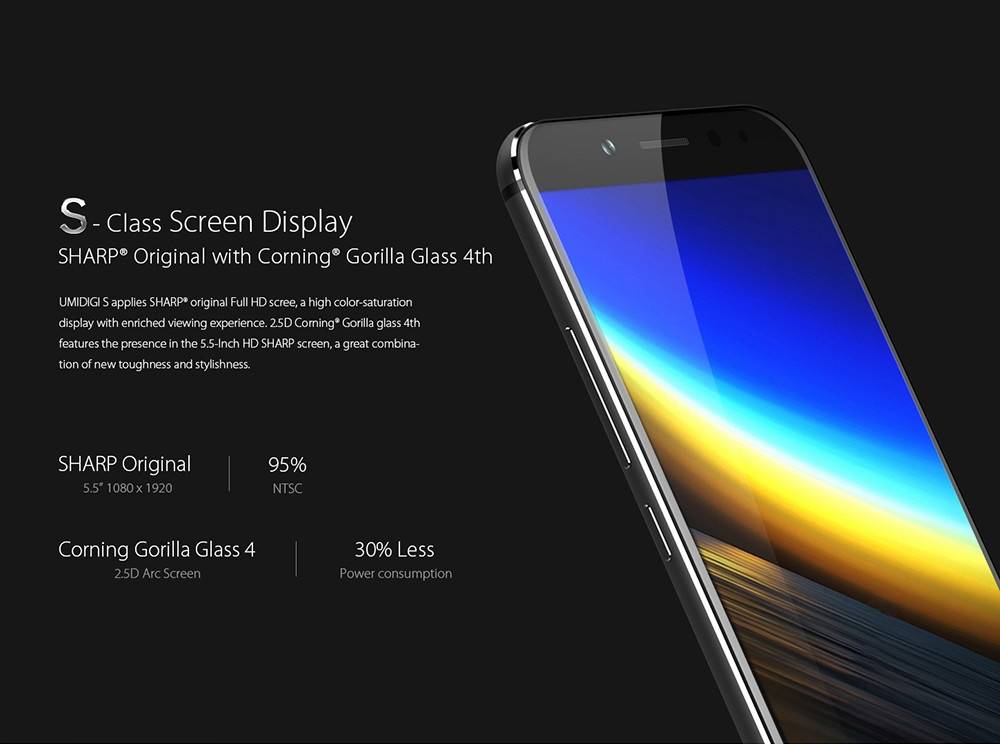 UMIDIGI S 4G Phablet 5.5 inch FHD Screen Android 7.0 Helio P20 Octa Core 2.3GHz 4GB RAM 64GB ROM 13.0MP + 5.0MP Dual Rear Cameras Metal Body Front Touch ID