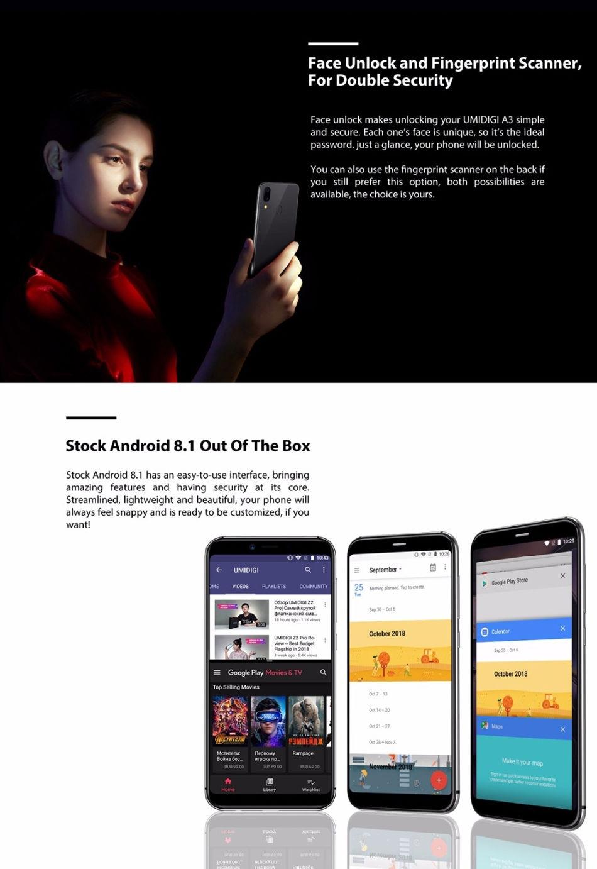 UMIDIGI A3 Global Bands 5.5 Inch HD+ 3300mAh 2GB RAM 16GB ROM MT6739 Quad Core 1.5GHz 4G Smartphone