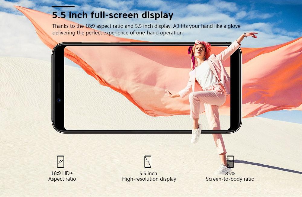 UMIDIGI A3 4G Phablet 5.5 inch MTK6739 Quad Core 2GB RAM 16GB ROM