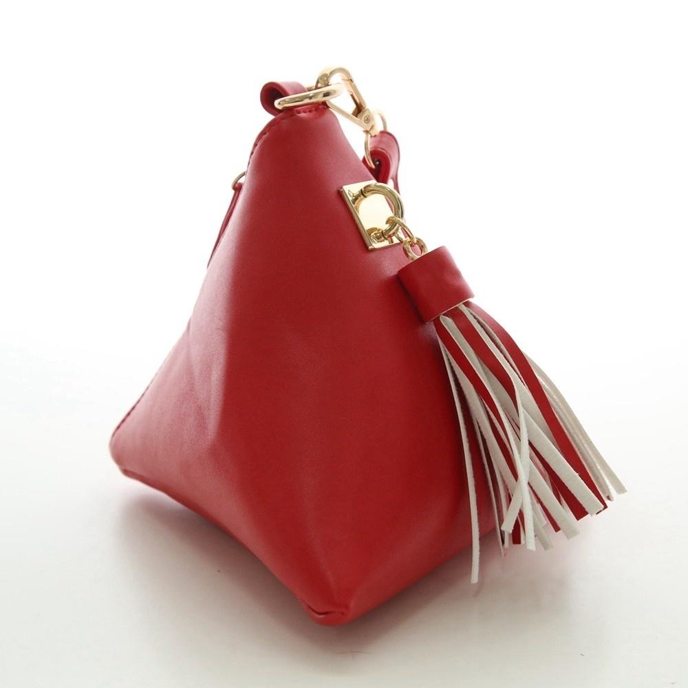 Triangle Shape Day Clutch Women Evening Bag PU Leather Wristlet Purses Tassel Small Handbags Herald Fashion New Arrivals (3)