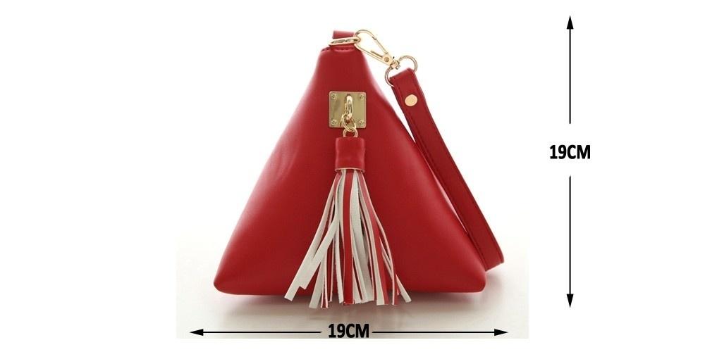 Triangle Shape Day Clutch Women Evening Bag PU Leather Wristlet Purses Tassel Small Handbags Herald Fashion New Arrivals