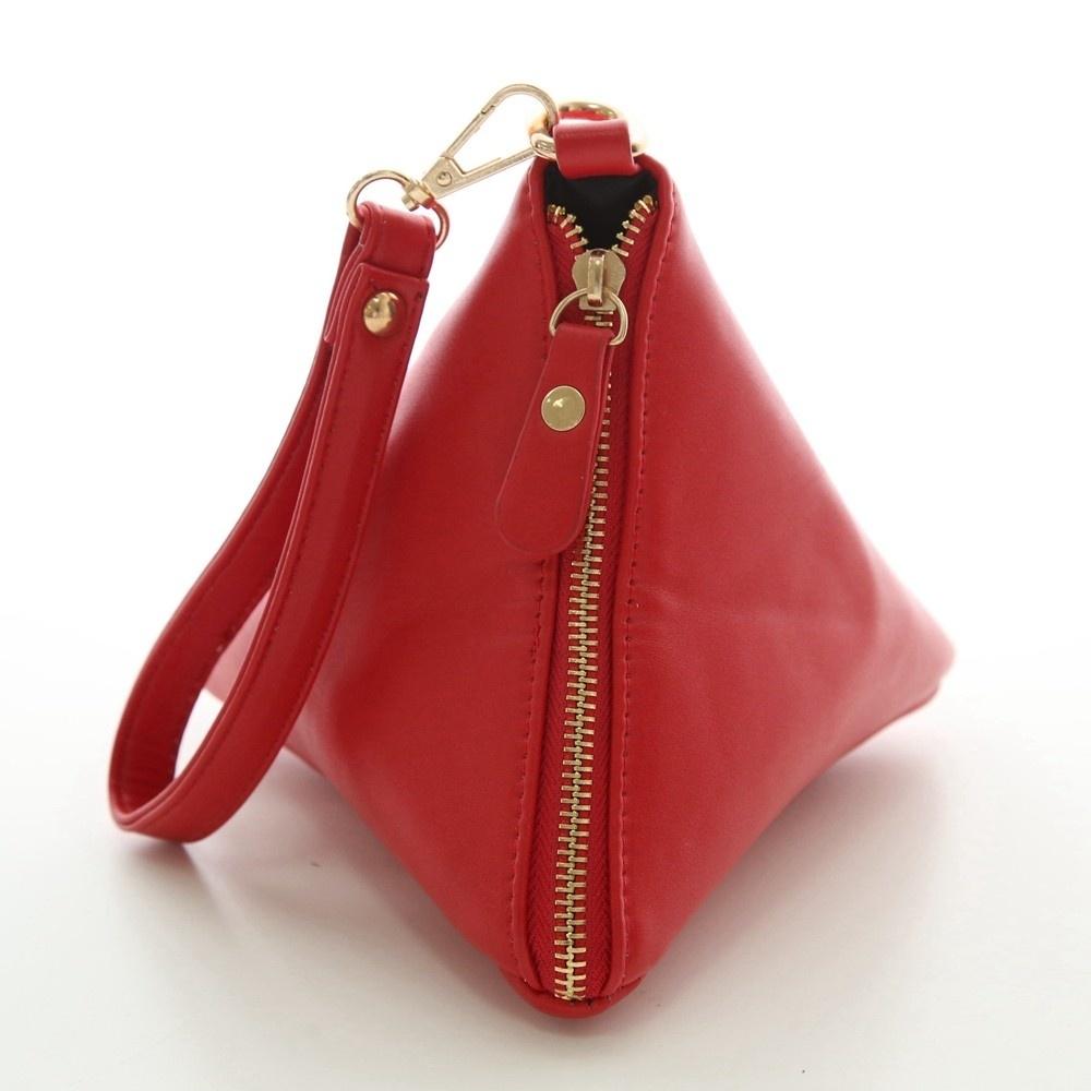 Triangle Shape Day Clutch Women Evening Bag PU Leather Wristlet Purses Tassel Small Handbags Herald Fashion New Arrivals (4)