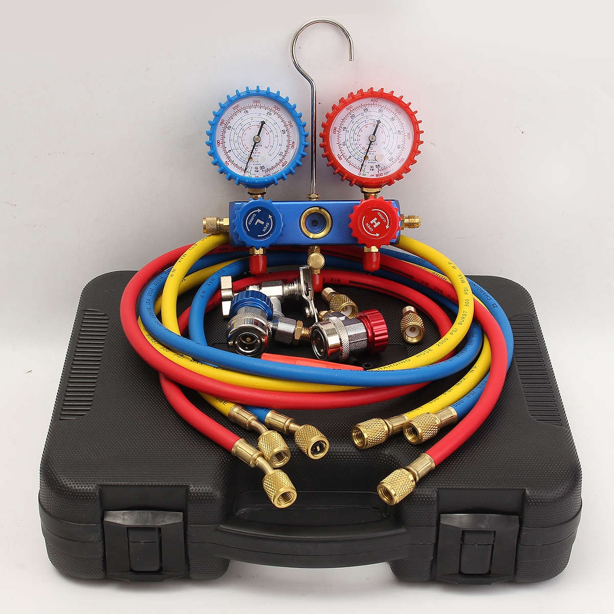 Universal R22 R12 R134A HVAC A/C Manifold Gauge W/3 CHARGE HOSES Quick Adapter & 2 ACME price in nigeria