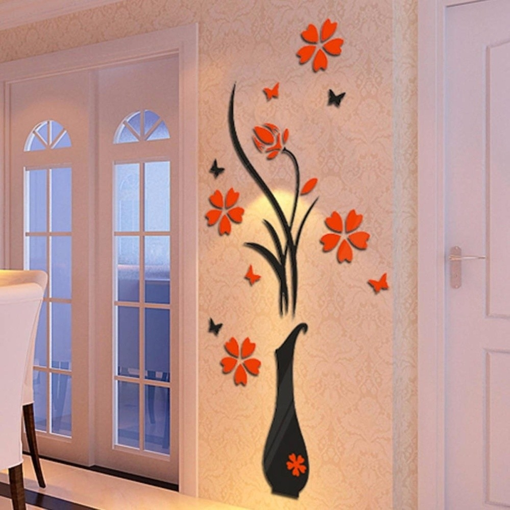 Universal new arrival 3d art flower vase plum tree wall for Home decorations on jumia