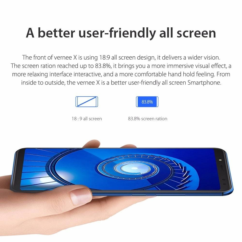 Vernee X ( X1 ) 4G Phablet 6.0 inch Android 7.1 MTK6763 2.0GHz Octa Core 4GB RAM 64GB ROM Dual Rear / Front Cameras 6200mAh Battery- Blue 4GB RAM + 64GB ROM