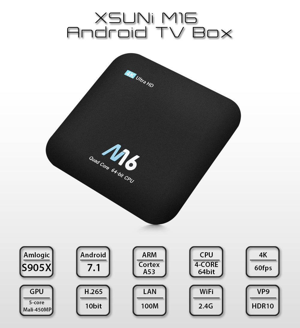 XSUNi M16 Android TV Box Amlogic S905X CPU Support 2.4GHz WiFi 4K H.265