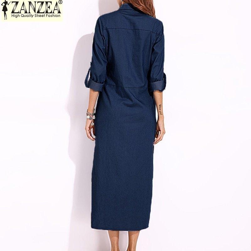 d920eb7d0126 Zanzea ZANZEA Women Long Sleeve Buttons Down Shirt Dress Denim Blue ...